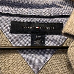 Tommy Hilfiger Shirts - Tommy Hilfiger Gray Striped Long Sleeve Polo Small